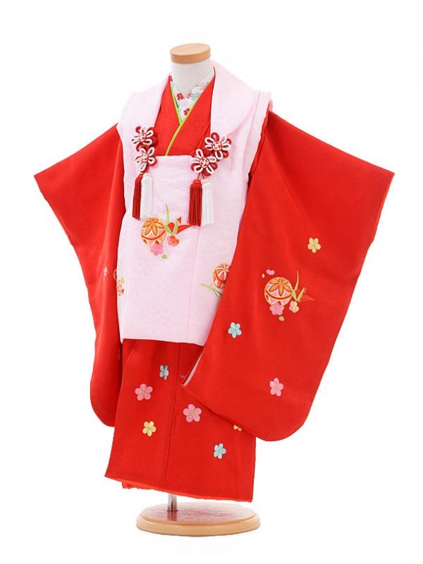 七五三レンタル(3歳女の子被布)3253正絹ピンク×赤梅まり