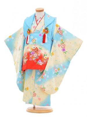 七五三レンタル(3歳女の子被布)3296水色×水色ぼかし桜
