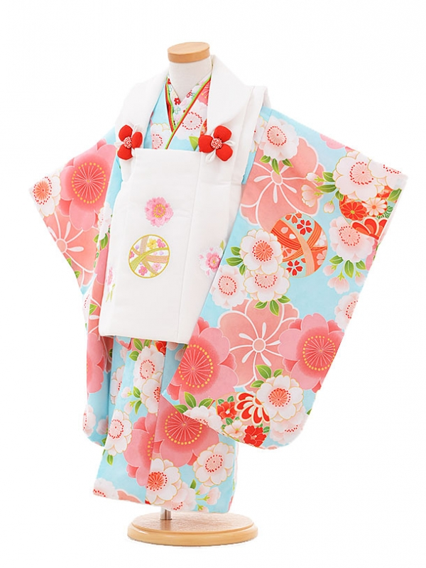 七五三レンタル(3歳女の子被布)3313ピンクまり×水色桜