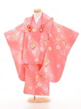 753レンタル(3歳女被布)03103ピンク小花と鈴