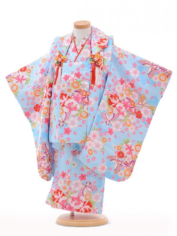 七五三(3歳女被布)3206水色花まり蝶