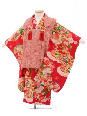 七五三(3歳女子被布) 3520 アンティーク 赤絞り×チェリーピンク 花