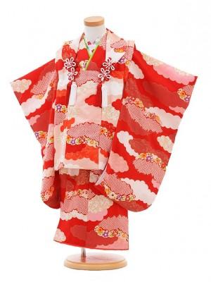 七五三レンタル(3歳女の子被布)3252正絹ピンク×赤古典雪