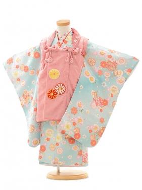 七五三(3歳女被布)3187 ベルベットピンク×水色