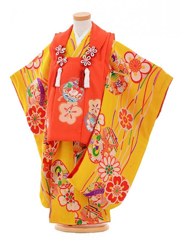 七五三レンタル(3歳女被布)3368 アンティーク 赤×黄色 花に鼓