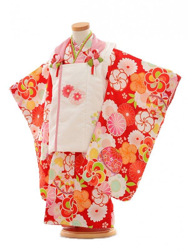 七五三レンタル(3歳女の子被布)3181式部浪漫白×赤花