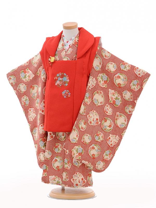 七五三(3歳女被布)3238赤花輪×赤かのこ花