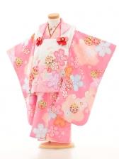 七五三(3女被布)3153 白×ピンク 花