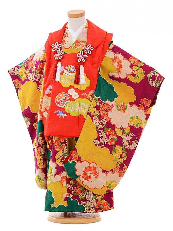 七五三(3歳女被布)3348  アンティーク 赤×赤紫雲取花