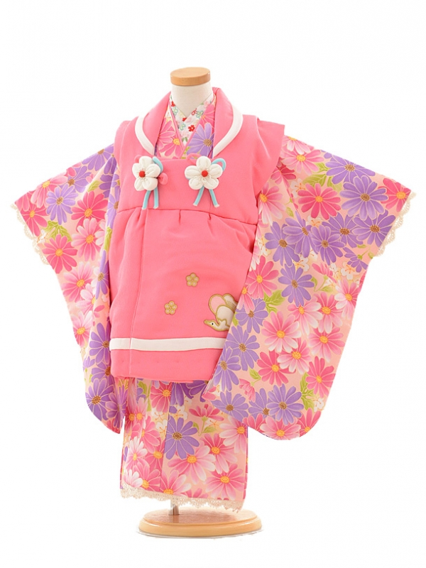 七五三(3歳女被布)3188 ピンク×ピンクパープル小