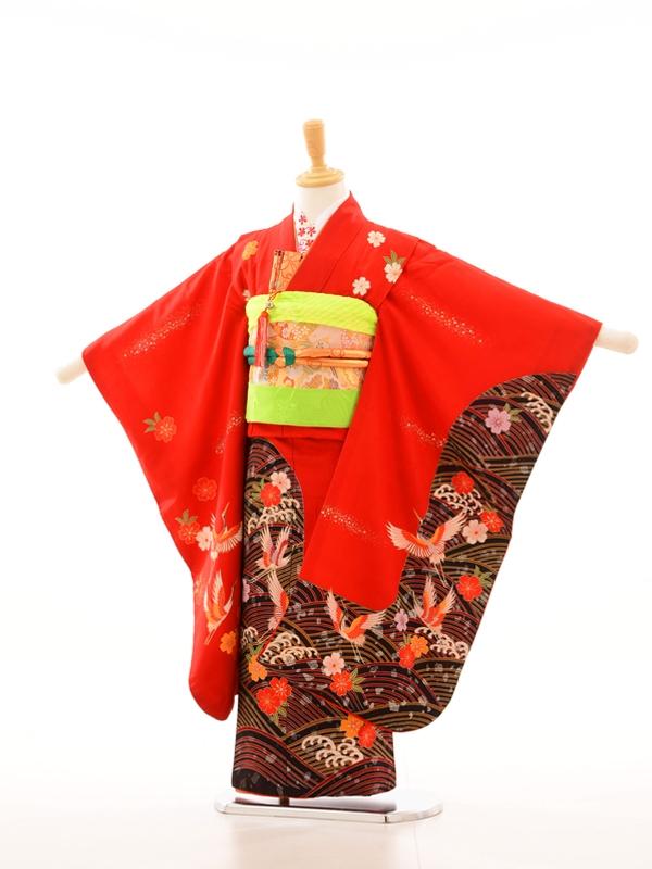 753レンタル(7歳女)7076赤地裾黒飛鶴に小花