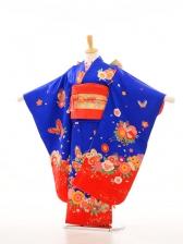 753レンタル(7歳女)7013紺地裾赤・花・蝶