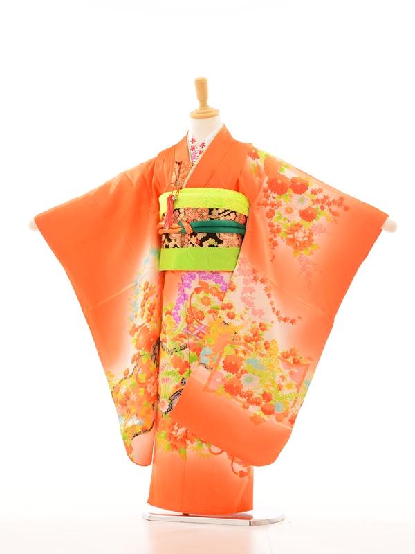 753レンタル(7歳女)7100寿NO57オレンジ花柄
