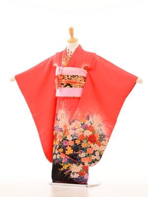 753レンタル(7歳女)7070ローズピンク花柄花紋