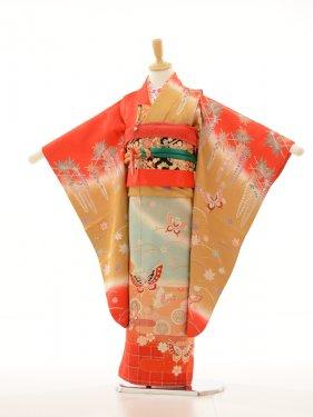 753レンタル(7歳女)7109ベージュ水色赤蝶