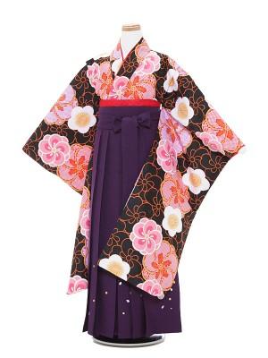 小学生卒業式袴 (女児)黒色梅柄×紫袴 1307