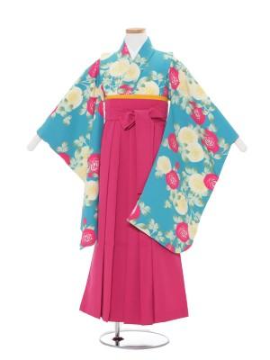 青地薔薇模様×ピンク袴 1318