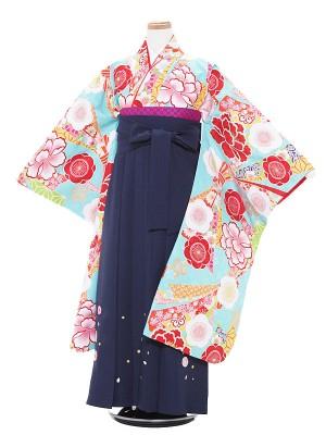 小学生卒業式袴 (女児)水色×紺/梅と束のし1317