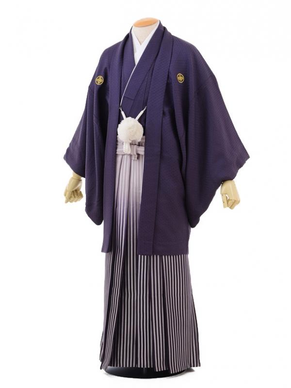 成人式卒業式袴レンタル(男)D042紫紋付×紫シルバ