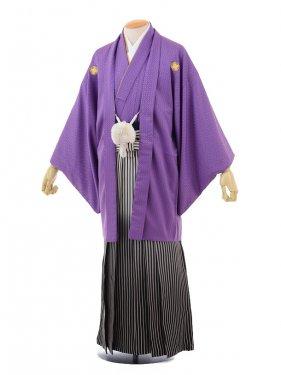 成人式卒業式袴レンタル(メンズ)D057紫紋付×黒シル