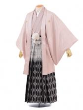 成人式卒業式袴レンタル(男)D020シルバーピンク紋付