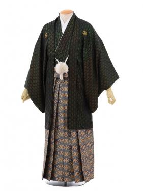 成人式卒業式袴レンタル(メンズ)D051黒金寿紋付×
