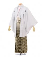 成人式卒業式袴レンタル(男)D009白シルバー刺子紋