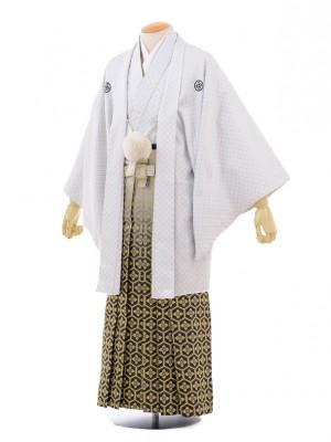 成人式卒業式袴レンタル(男)D008白黒刺子紋付×