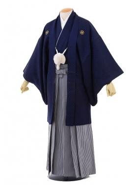 成人式卒業式袴レンタル(メンズ)D047紺刺子紋付×