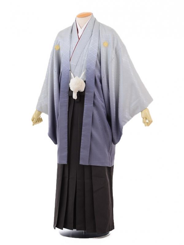 成人式卒業式袴レンタル(メンズ)D045グレーぼかし紋