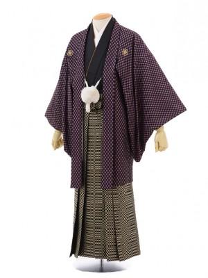 成人式卒業式袴レンタル(男)D021黒紫市松紋付×