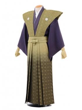 成人式卒業式袴レンタル(男)D026紫にグリーン裃×