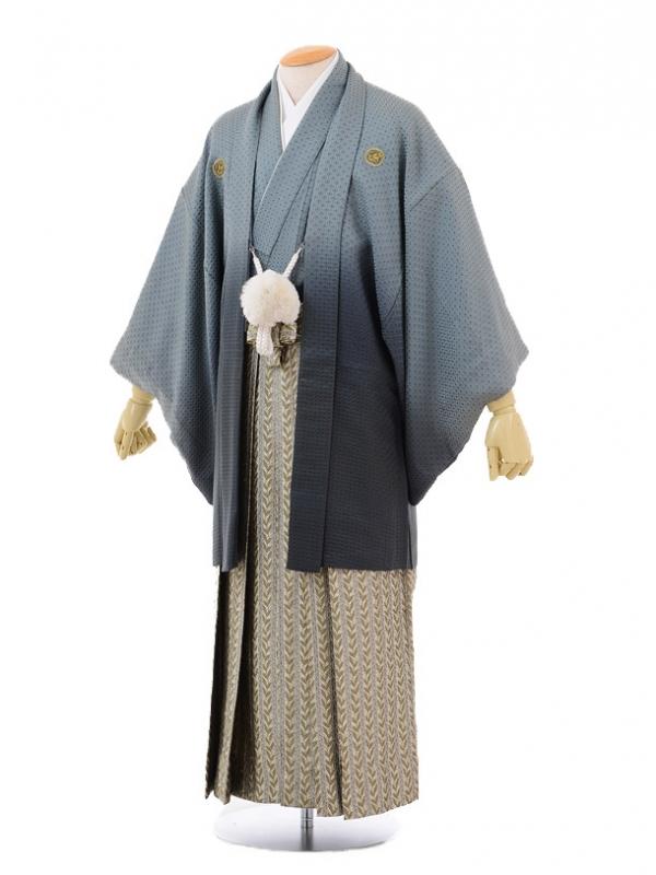 成人式卒業式袴レンタル(男)D027グリーングレー紋付