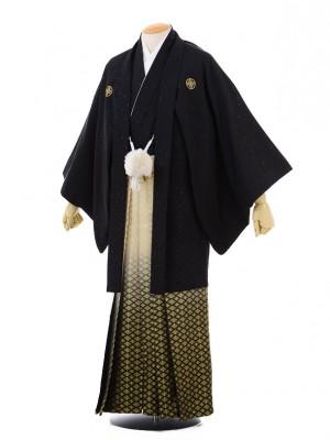 成人式卒業式袴レンタル(男)D001黒紋付肩衣×ゴ