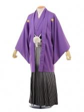 成人式卒業式袴レンタル(男)D005紫紋付×黒シルバ