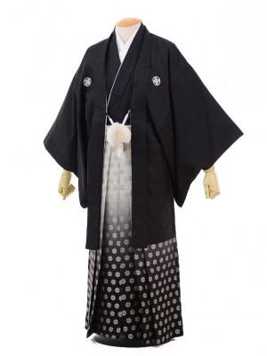 成人式卒業式袴レンタル(メンズ)D055黒ジャガード紋