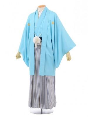 成人式卒業式袴レンタル(メンズ)D043水色紋付×紺