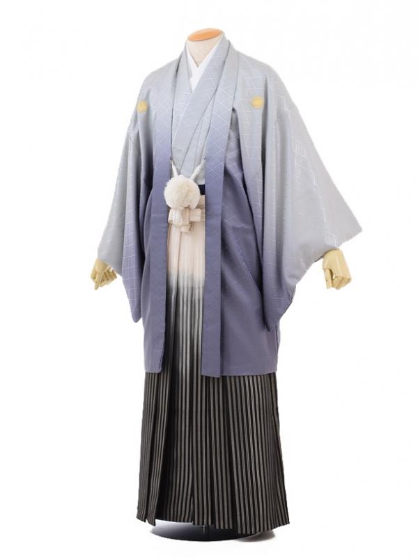 成人式卒業式袴レンタル(メンズ)D046グレーぼかし紋