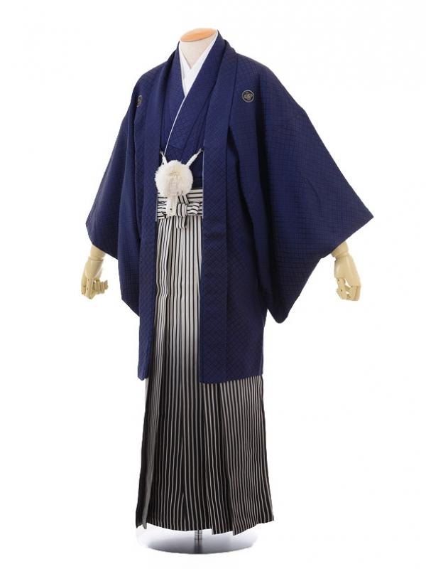 成人式卒業式袴レンタル(男)D010紺刺子紋付×シル