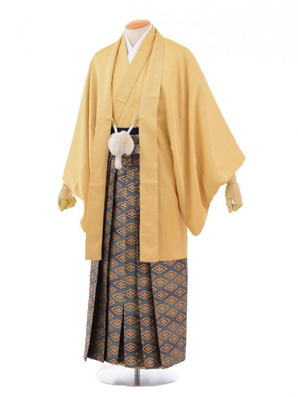 成人式卒業式袴レンタル(男)D015からし色羽織×