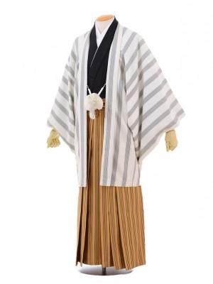 成人式卒業式袴レンタル(男)D040白ストライプ羽織×