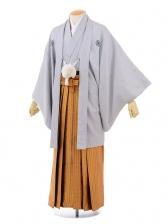 成人式卒業式袴レンタル(男)D016グレー紋付×オレン