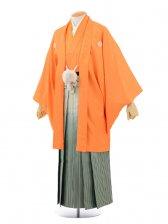 成人式卒業式袴レンタル(男)D017オレンジ紋付×グリ