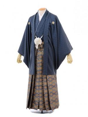 成人式卒業式袴レンタル(男)D004グレー紋付×ゴール