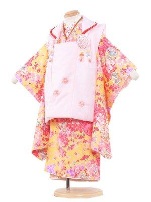 七五三レンタル(3歳女の子被布)3064 黄色/鈴ピンク小花