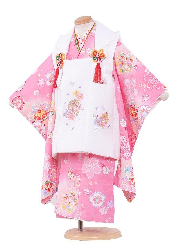 七五三(3女)3148 ピンク色×桜
