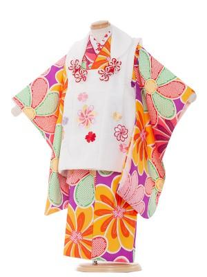七五三レンタル(3歳女の子被布)3114 紫/ねじり梅
