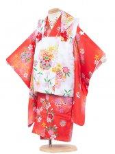 七五三(3女)3075 赤×白/黄色の小花