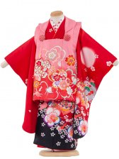 七五三(3女)3006 赤×黒 蝶と花