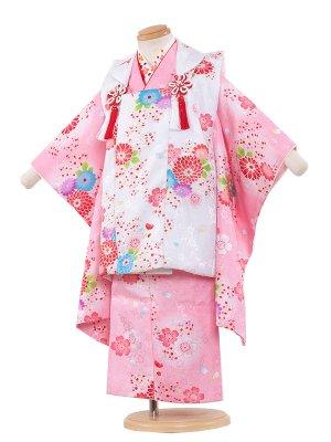 七五三レンタル(3歳女の子被布)3073 ピンク×白/青の小花